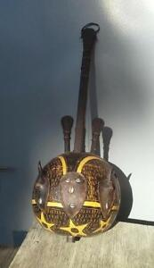 African Antique 10-stringed Banjo Cowry shells  Horns . VERY RARE !