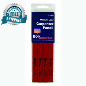 Bon 14-589 7-Inch Carpenter Pencil Black Hard Lead with Red Casing 12-Pack