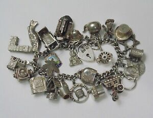 Vtg Sterling Silver CHARM BRACELET Loaded w Charms Heart Safety Clasp Lot 76.4g