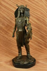 Native-American-Indian-Bronze-Bust-Souix-Chief-Warrior-Hand-Made-Sculpture-Gift