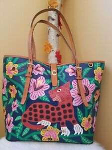 Dooney & Bourke Islamorada Large Dover Tote * Tropical Panama Jungle Jaguar