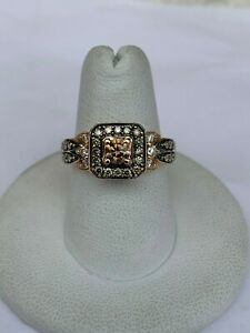 14K Rose Gold Le Vian Chocolate Vanilla Diamond Square Frame Halo Ring (Size 7)
