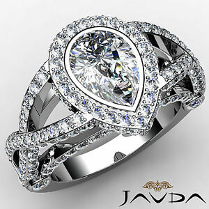 Pear Diamond Engagement GIA G SI1 14k White Gold Designer Halo Pave Ring 2.36 ct