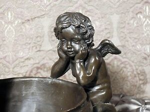 * Cast Bronze Metal Bowl Dish on Marble Ornate Cherubs Angels GIFT ART Sculpture