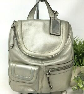 Tignanello Soft Leather Backpack Purse Silver EUC Adjustable Straps Metallic