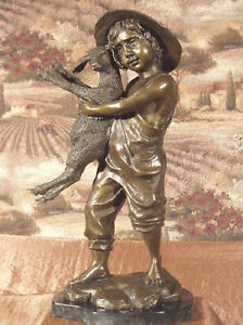 *Fine Bronze Metal Statue on Marble Base Young Lad Farm Boy Lamb Sheep Sculpture
