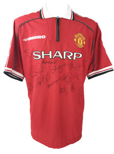 SIGNED MANCHESTER UNITED SHIRT - TREBLE WINNERS JERSEY 1999 + *CERTIFICATE*