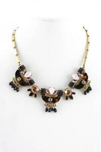 J CREW $148 Brown Black Circle Crystal Statement Gold Necklace Jeweled Tortoise