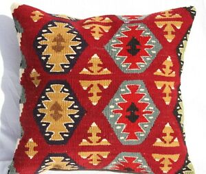 TURKISH KILIM RUG PILLOW CUSHION COVER HAND WOVEN WOOL 16
