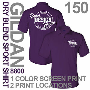 150 Custom Screen Printed Sport Shirts polo 1 ink color 2 locations S-XL