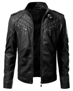 New Men#x27;s Genuine Lambskin Leather Jacket Black Slim fit Biker Motorcycle jacket