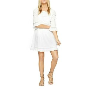 Sanctuary Womens Ellie Crinkled Eyelet Casual Dress White L