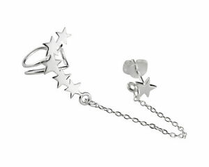Star Ear Climber Earring 925 Sterling Silver Right Ear Crawler Chain Stud $16.00