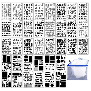 36PCS Bullet Journal Stencil Plastic Letter Number Stencils Templates With A Bag
