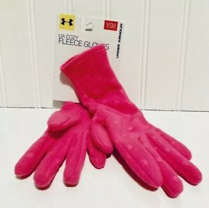 NEW Under Armour North UA Fleece Cozy Gloves IN Pink Size.YSM  Girls Clothing