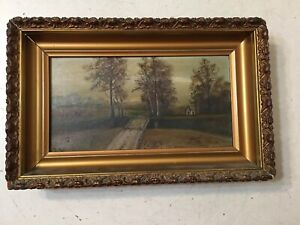 Beautiful Antique Landscape Painting The Road Home In Fall A H Herter $299.99