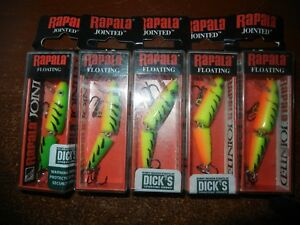 Lot of 5 New Rapala Jointed Floating J-5 Fishing Lures FT  FIRETIGER