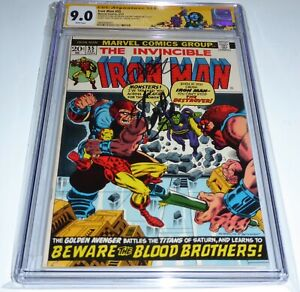 Iron Man #55 DOUBLE Cover CGC Signature Autograph STAN LEE 9.0 1st Thanos Drax