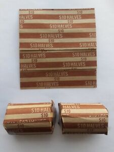 100 Half Dollar Flat Coin Wrappers Paper Tubes 50 Fifty Cent Pieces Halves