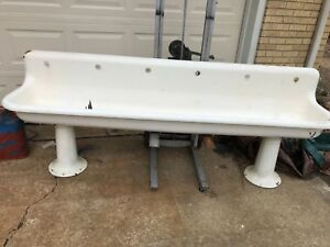 HUGE! Antique Cast-Iron Trough Sink 8 Foot With Pedestals and Wall Mounts