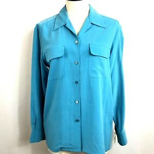 Tommy Bahama Women's Turquoise Long Sleeve Button Up Silk Blouse Sz M