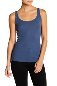 E009 NWT VINCE RIBBED FAVORITE WOMEN TANK TOP SIZE XS, S, M, L in STORM BLUE $65