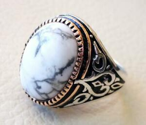 Solid 925 Sterling Silver White Dendrite Opal Gemstone Huge Mens Ring Jewelry