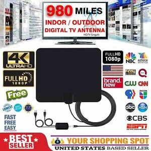 Flat HD Digital Indoor Amplified TV Antenna with Amplifier 300 Miles Range 13ft