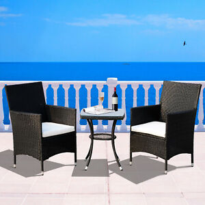 Outsunny 3pcs Patio Rattan Furniture Garden Wicker Bistro Set All Weather Black