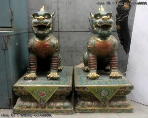 Chinese Bronze Cloisonne Enamel 24K Gold Foo Dog Lion Dragon Kylin Kilin unicorn