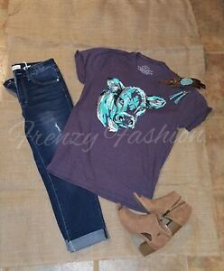 Women's purple turquoise Conway Calf Tee Size Medium by Crazy Train
