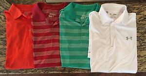 Lot of 3 Mens Nike Golf Dri Fit Tour Performance Polo Shirts & 1 Under Armour M