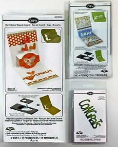 Sizzix Pop 'n Cuts Set– BASE CARD CIRCLE LABEL Insert & Sizzlits Dies CONGRATS