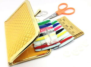 Mini Hasp Gold Cluth Travel Sewing Kits Needle Threads Travel Use Sewing Tools $7.99