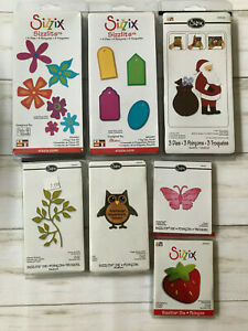 NEW Lot of 15 Sizzix Sizzlits Dies Flowers Tags Santa Owl Strawberry Leaves