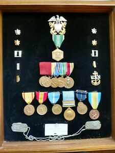 Large Lot Of Vintage US Army Medals Ribbons Bars & Pins - commander Mcintosh.
