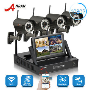 4CH Wireless WIFI Security Camera System Outdoor 2MP 7''Monitor 421TB HDD NVR