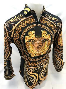 Mens PREMIERE Long Sleeve Button Down Dress Shirt BLACK GOLD LEAF ABSTRACT 316