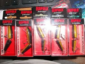Lot of 5 New Rapala Jointed Floating J-7 Fishing Lures G  GOLD