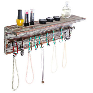 Wall Mounted Torched Wood 9 Hook Necklace Hanger with Bracelet Bar Display Rack