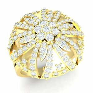 3ct Round Diamond 18K Gold Engagement Ring Ladies Bridal Cocktail Flower G SI1