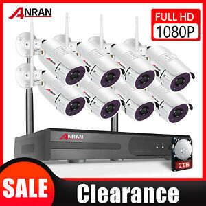 8CH Wireless Security Camera System 1080P Outdoor with 1TB Hard Drive CCTV NVR