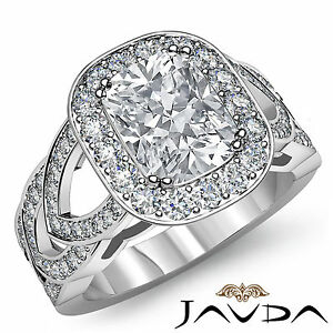 Cushion Diamond Engagement EGL G Color VS2 14k White Gold Designer Ring 2.25 ct