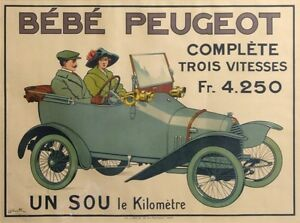 BABY PEUGEOT  DESIGN BY BUGATTI ULTRA RARE VINTAGE POSTER