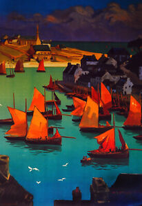 8212.Decoration Poster.Home Room wall.Art print design.Red Sail Boats fishing