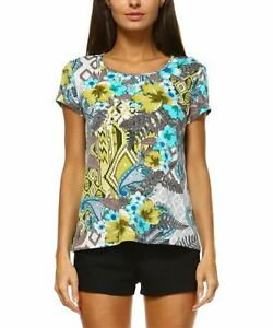 Jean-Pierre Klifa Paris Marquesa Print Simple Top Turquoise Blue Medium $56