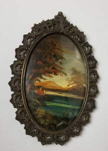 Antique Victorian Painting Oval with Bow Glass c1920 Artist Bary water country $79.19