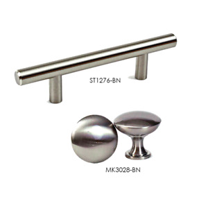 Solid Steel T Bar Pull Handle Mushroom Knob Brushed Nickel Kitchen Cabinet