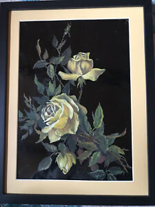 Victorian antique rose hand painted original oil PAINTING floral flower yellow