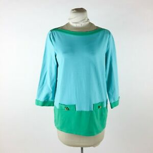 Kate Spade Turquoise Blue Green Knit Top Sz XL Boat Neck 34 Sleeve